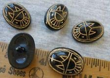 Scarab Buttons Black Carved Plastic & Gold 1 inch Shank Style Dome figural 5 pc