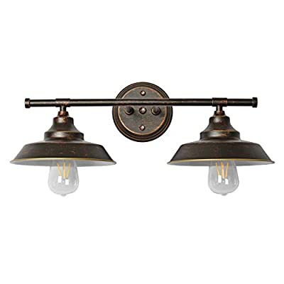 Modern Industrial 2-Light Wall Mount Light Sconces?Bathroom Vanity Light Indoor Wall Mount Lamp,Oil Rubbed Bronze Finish