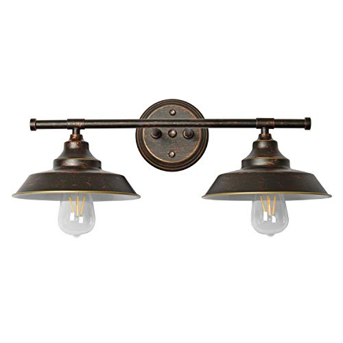 (Modern Industrial 2-Light Wall Mount Light Sconces,Bathroom Vanity Light Indoor Wall Mount Lamp,Oil Rubbed Bronze Finish)