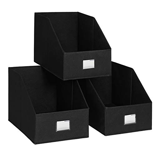 3 Open Storage - SONGMICS 3 Pack Open Storage Bins Foldable Trapezoid Storage Cubes Non-Woven Cloth Organizers with Label Holders for T-Shirts Sweaters etc, Black UROB03BK