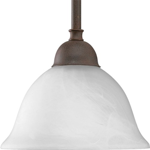 - Progress Lighting P5068-33 1-Light Stem Hung Mini-Pendant with Swirled Alabaster Glass, Cobblestone