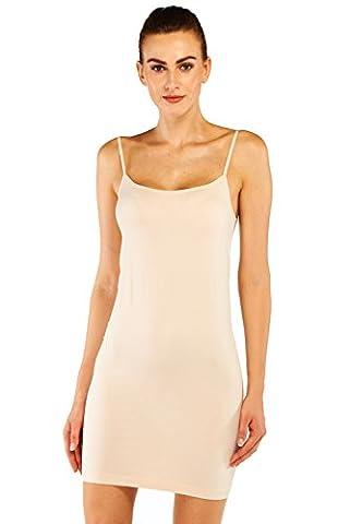 Belugue Women's Full Slip Comfort Shaping Camisolo Long Dress Nightwear Beige XL