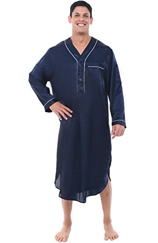Alexander Del Rossa Mens Satin Nightshirt, Long Lightweight Woven Kaftan