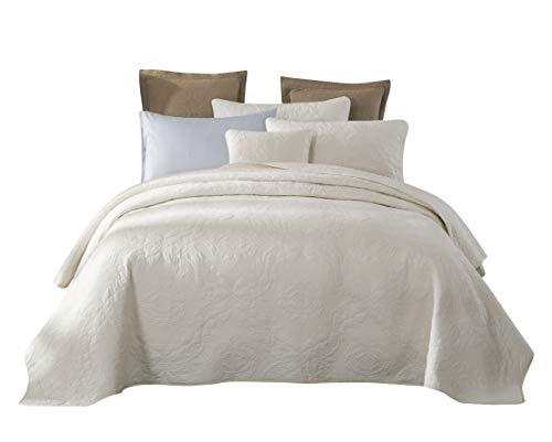 Tache Cotton Damask Matelasse Powder Snow Solid Cream Off White Ivory Quilt Bedspread 3 Piece Set, King
