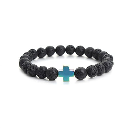 Natural Black Lava Stone Beads Bracelet Fashion Men Hematite Beaded Cross Charm Bracelets Yoga Jewelry