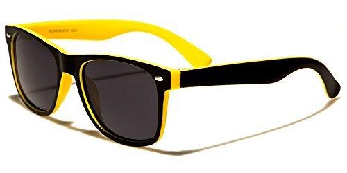Retro Rewind Classic Polarized Wayfarer Sunglasses Black Yellow w Soft Finish
