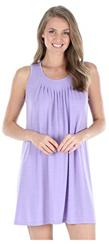 - PajamaMania Women's Sleepwear Stretchy Knit Sleeveless Nightgown Beach Cover Up Sleep Dress (PMR1818-2020-L/XL) Lilac