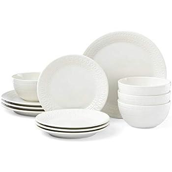 Kate Spade New York 889115 Willow Drive Cream 12 Piece Dinnerware Set