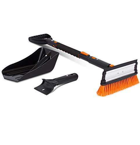 """Snow Moover 39"""" Extendable Snow Brush with Squeegee, Ice Scraper & Emergency Snow Shovel   Foam Grip   Auto Snow Brush   Auto Ice Scraper   Car Truck SUV"""
