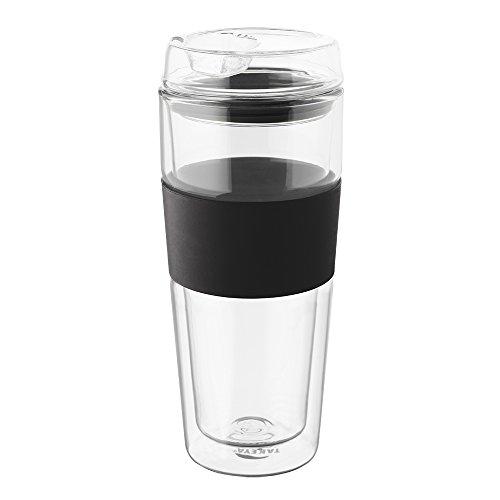 Takeya Double-Wall Glass Tea/Coffee Tumbler, 16-Ounce, Black, Pack of 2