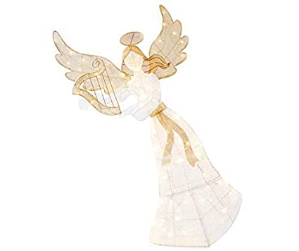Lighted Angel Outdoor Christmas Decorations.Amazon Com Holiday Home 60 Gold White Lighted Angel With Harp