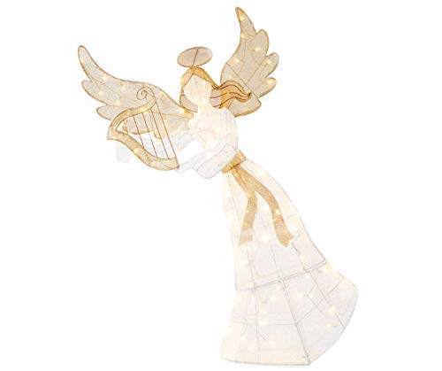 """Holiday Home 60"""" Gold White Lighted Angel with Harp Sculpture Outdoor Christmas Yard Lawn Decoration Seasonal Display"""