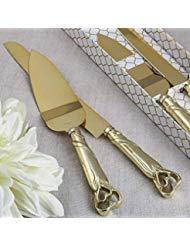Gold Double Heart Wedding Cake Serving Set