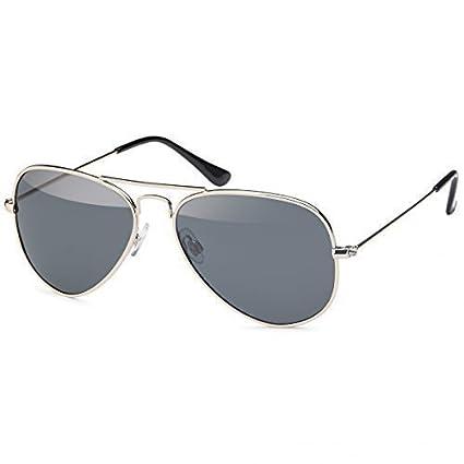 Retro Polarisiert Piloten-Brille Sonnen-brille Aviator Wayfarer Etui Nerd 20272, Rahmenfarbe:Silber/Blau