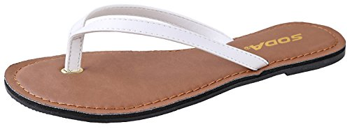 White Flip Flop Sandals - SODA Shoes Women Flip Flops Basic Plain Sandals Strap Casual Beach Thongs FELER,6.5 B(M) US,White