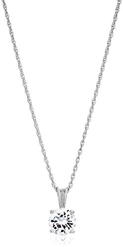 Amazon Essentials Platinum Plated Sterling Silver Cubic Zirconia Round Cut Solitaire Pendant Necklace (6.5mm), 18