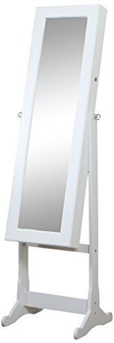 Artiva USA - White Wood Finish – Free Standing Cheval Mirror and Jewelry Armoire Display with LED Light and Key Lock –  Beautiful & Functional Home Decor – Solid Construction – Jewelry Holder – Make-up Stand – Open Door