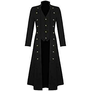 Darkrock Men's Cotton Twill Steampunk Jacket Goth Victorian/Military Style Trench Coat/USA Design/USA Sizes/Black,Red & Blue