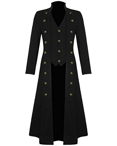 Darkrock Men's Black Cotton Twill Steampunk Jacket Goth Victorian/Military Style Trench Coat (XXX-Large, - Goth Victorian