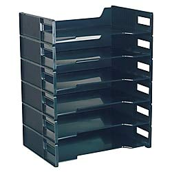 Innovative Storage Designs Stackable Letter Trays, Black, Pack of 6 ()