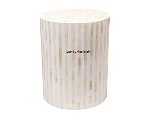 - Bone Inlay Drum Side Table White Stripe