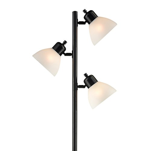 Light Accents Floor Lamp 3 Light Tree Style Standing Lamp with Adjustable Lights – Standing Pole Light – Torchiere - Black Finish (Tree Torchiere)
