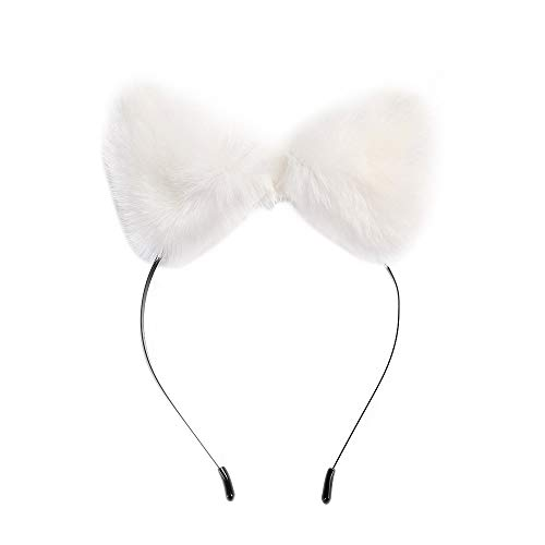 Cat Ears Headband Anime Cosplay Party Headwear Fox Ears Halloween Fluffy Costume Hairband White