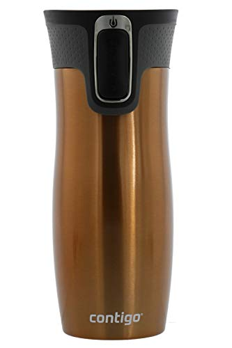 Contigo Autoseal West Loop 2.0 - Vacuum Insulated Stainless Steel Thermal Coffee Travel Mug - Keeps Drinks Hot or Cold for Hours - Fits Under Single-Serve Brewers - BPA Free- 16 Ounces - Gold