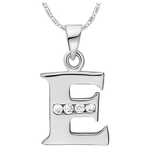 NYKKOLA Fashion Jewellery 925 Silver Clear Crystal Initial Letter E Alphabet Charm Necklace