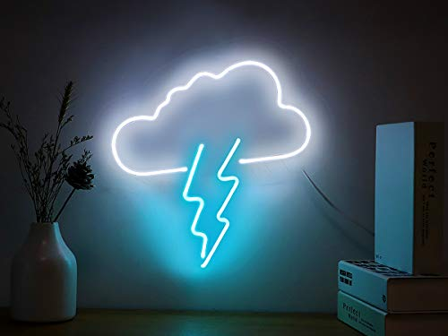 Neon Signs Clouds and Lightning Bolt Neon Light Sign Hanging Neon Sign Bolt Real Neon Lights Neon Wall Sign Neon Lamp Art Decorative Light for Home Bedroom Room Decor Office Halloween Party Decor
