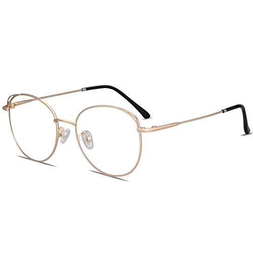 (SOJOS Cat Eye Blue Light Blocking Glasses Street Fashion Metal Frame Women Eyeglasses She Young with Gold Frame/Anti-Blue Light)