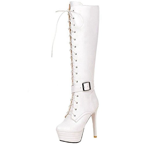 SJJH Women Knee Boots with Stiletto and Thick Platform Thin Heel Knight Boots with Lace-up for Fashion White