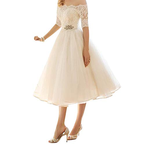 CANHOT Women Off-The-Shoulder Lace Wedding Party Ball Gown Dress Cocktail Dresses
