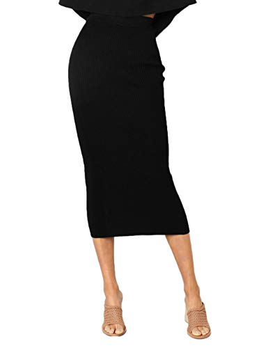 NAFOUR Women's High Waist Rib-Knit Sweater Skirt Stretchy Bodycon Pencil Skirt Party Club Maxi Skirt Black ()