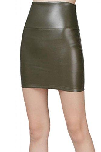 Short Jupe Green Faux cuir Mini cuir en Dame Lotus Army Instyle nIgqHY