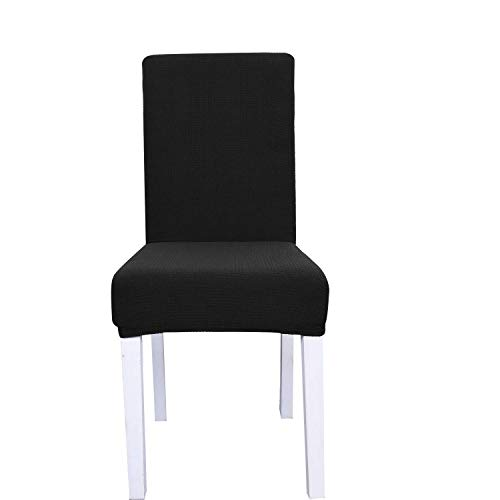 Granbest 2 Pieces Jacquard Waterproof Chair Covers High Stretch Dining Room Chair Slipcovers (Black, 2 -