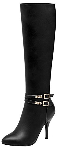 Easemax Women's Dressy Studded Pointy Toe Pull On High Stiletto Heeled Mid Calf Martin Boots Black lE04dak2TU