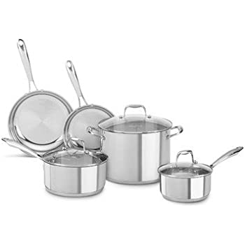 KitchenAid KCSS08LS Stainless Steel 8-Piece Cookware Set - Polished Stainless Steel