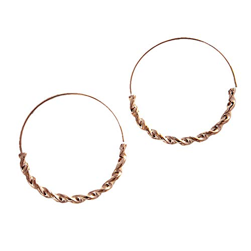 Endless Stainless Steel Snap Hoop Earrings Real Gold Plated Hanging Dangling Thin Minimalist Earrings for Women (Rose Gold/Twisted Round) ()