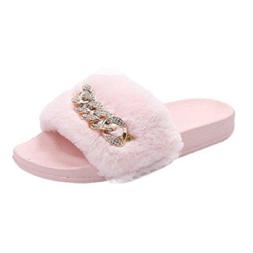 Chaussures Plage rose Plates rose 35 EU Claquettes Tongs Sandales Fausse Culater® de fourrure et chaîne Femmes Sxwz1PnR