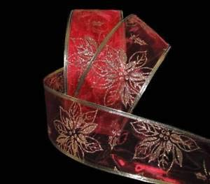 (5 Yards Christmas Gold Glitter Poinsettia Flower Red Sheer Wired Ribbon 2 1/2