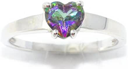 Natural Mystic Topaz Heart Ring .925 Sterling Silver Rhodium Finish