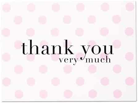 Baby Shower Thank You Cards Pink Polka Dot - 36 Blank Note Cards with White Envelopes for Girl