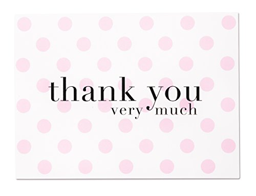Baby Shower Thank You Cards Pink Polka Dot - 36 Blank Note Cards with White Envelopes for Girl - Made in USA