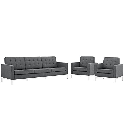 Modway Loft Upholstered Fabric Mid-Century Modern Sofa and Two Armchair Set in Gray