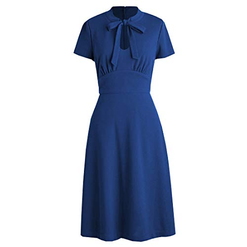 (KUFEIUP Keyhole Bow Tie Front 30s 40s Vintage Dresses for Women Blue M)
