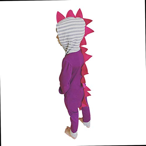 Wiswell Baby Boy Girl Bodysuit Infant Baby Kids 3D Dinosaur Striped Hooded Romper Jumpsuit Outfits (Purple, 100/18-24Months)