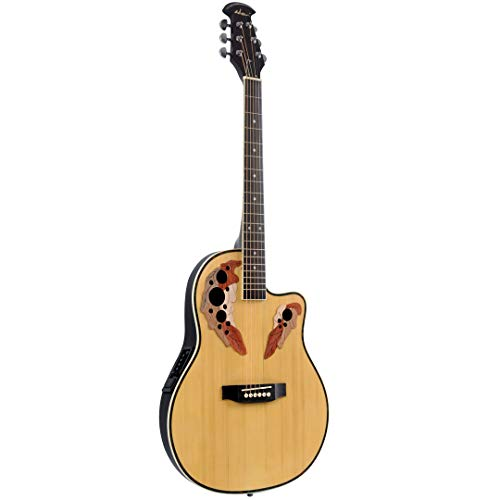 ADM Full Size Acoustic Electric Cutaway Guitar, Round Back Mutil Hole with 4-Band EQ, - Chromes Dean Guitar Resonator
