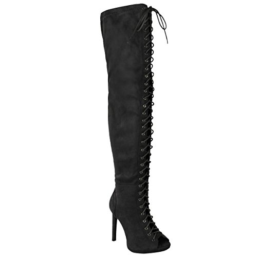 Fashion Thirsty Womens Thigh High Over The Knee Platform Lace up Boots Stiletto Heel Size (Laced Platform Knee High Boots)