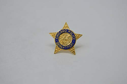(CHICAGO POLICE DEPT. TIE TAC BAR STAR PIN SHIELD Gold Tone)